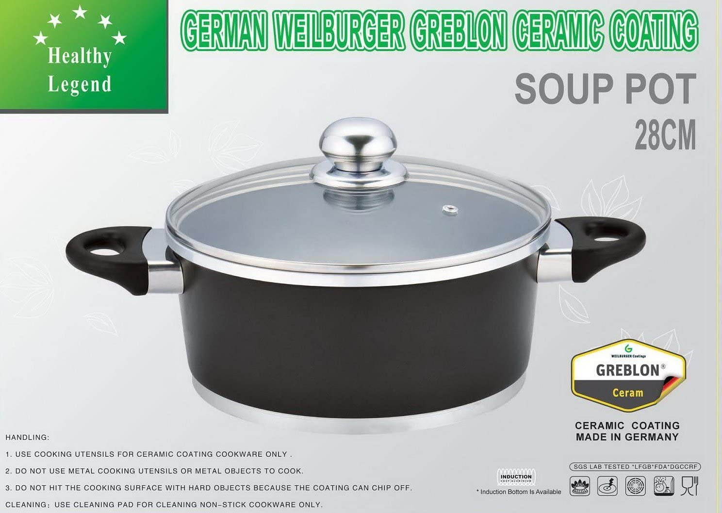 B009WIHWG6 7.1 Quart Stock Pot (soup pot) with Non-stick German Weilburger Ceramic Coating by Healthy Legend - Induction Ready, ECO Friendly Non-toxic Cookware 71chCLYDxML