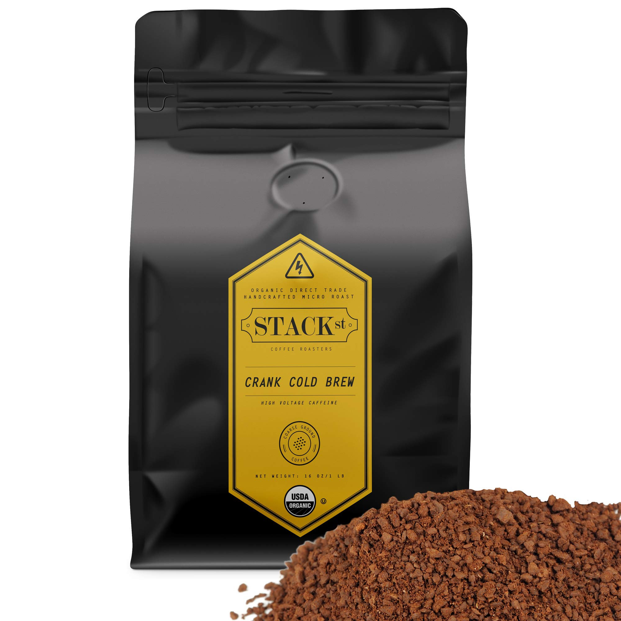 Organic Cold Brew Coffee Grounds, 1 lbs - CRANK High Voltage Caffeine Flavor Dark Roast, Coarse Grind - Handcrafted, Single Origin, Micro Roast, Direct Trade - By Stack Street