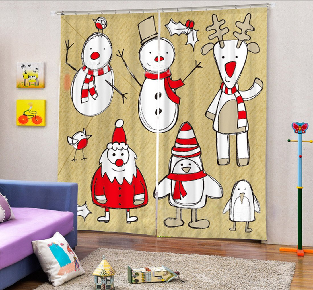 Christmas Decor Curtain Darkening Drapes by LB , Cartoon Snowman Reindeer Santa Claus Holly, Bedroom Living Kids Girls Boys Room Curtain, 80x95 Inches (2 Panels Set Size) , Beige White Red