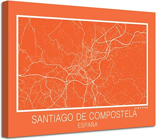 Foto Canvas Cuadro Mapa Santiago de Compostela España en Lienzo ...