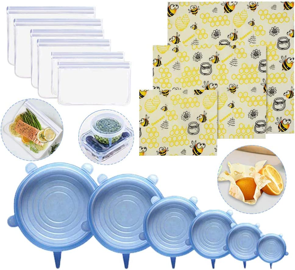 (15 Pack) Household Food Storage Kit 3 Beeswax Food Wrap + 6 Reusable Silicone Food Storage Bags + 6 Silicone Stretch Lids, Eco-Friendly Food Wraps and Bowl Covers, Airtight Seal Food Preservation Bag