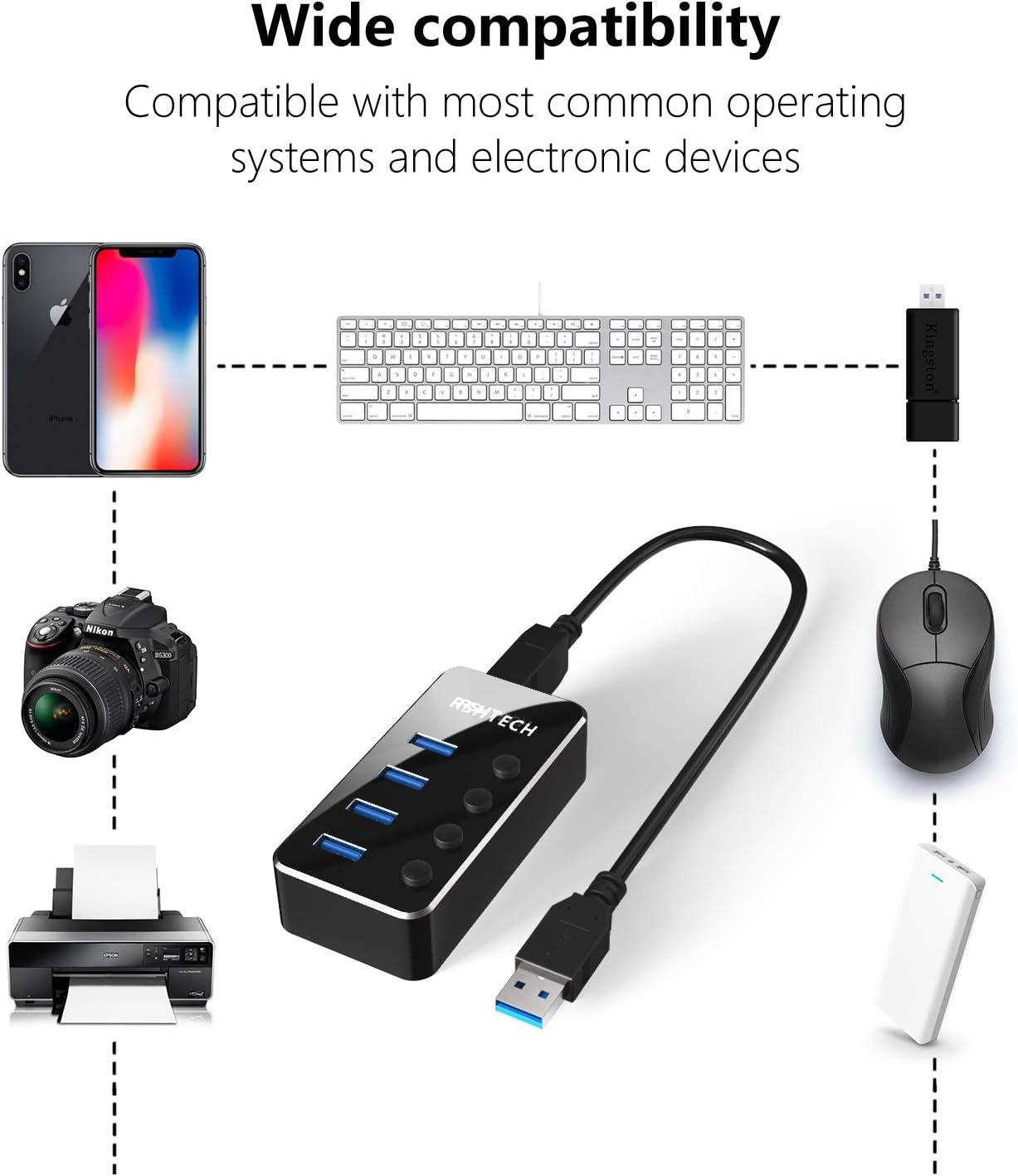 RSHTECH USB Hub 3.0 Powered 4 Port USB Splitter Portable Aluminum Data Hub with Individual On//Off Switch