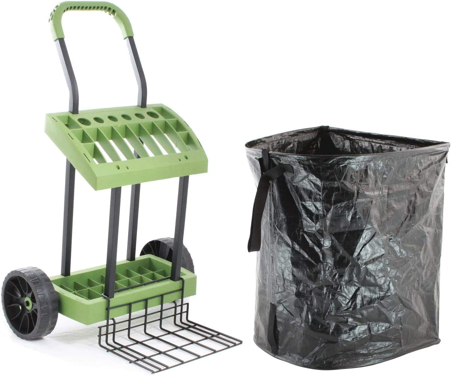 Lawn-Care Tool Box On Wheels with Leaf Collection Bag | Never Flat Tires & 120 Lb. Capacity Lift Plate | Mobile Yard Raking Project Organizer Caddy Cart | Made in USA by Vertex | Model SD590