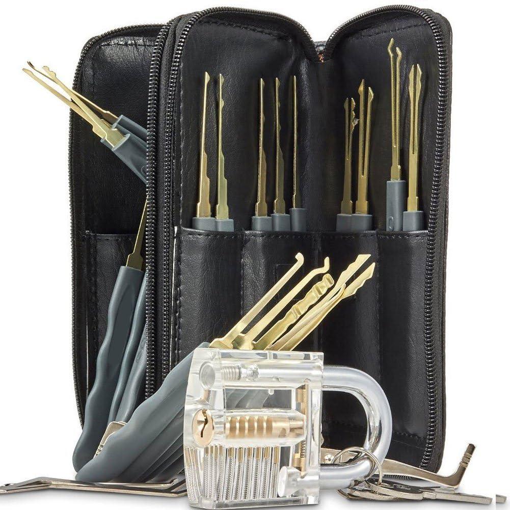 Juego profesional con 25 herramientas para abrir cerraduras y candado transparente de práctica (incluye ganzúas, llaves y estuche de piel): Amazon.es: Bricolaje y herramientas