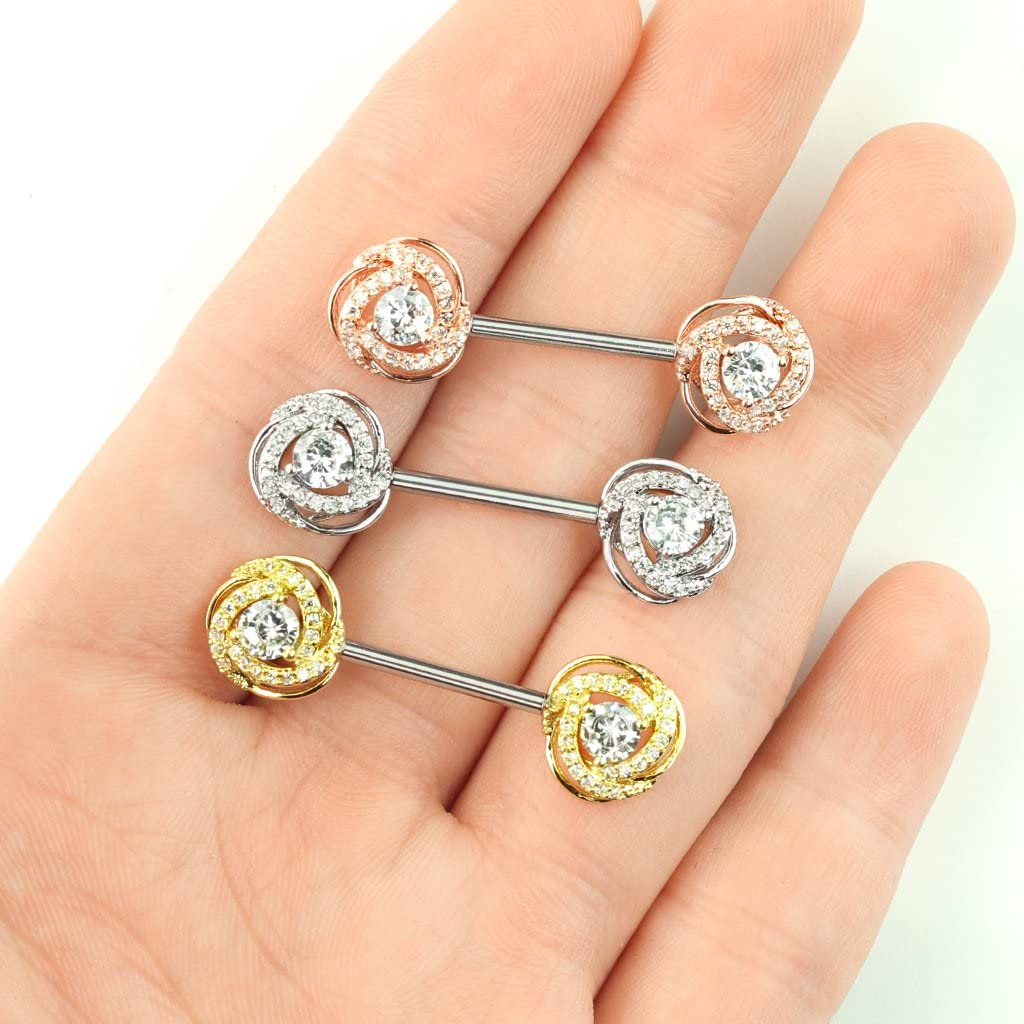 CZ Paved with Round CZ Center Rose Blossom Ends 316L Surgical Steel Barbell Nipple Rings