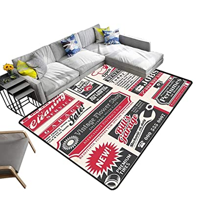 Amazon.com: alsohome Large Classical Carpet Retro Newspaper ...