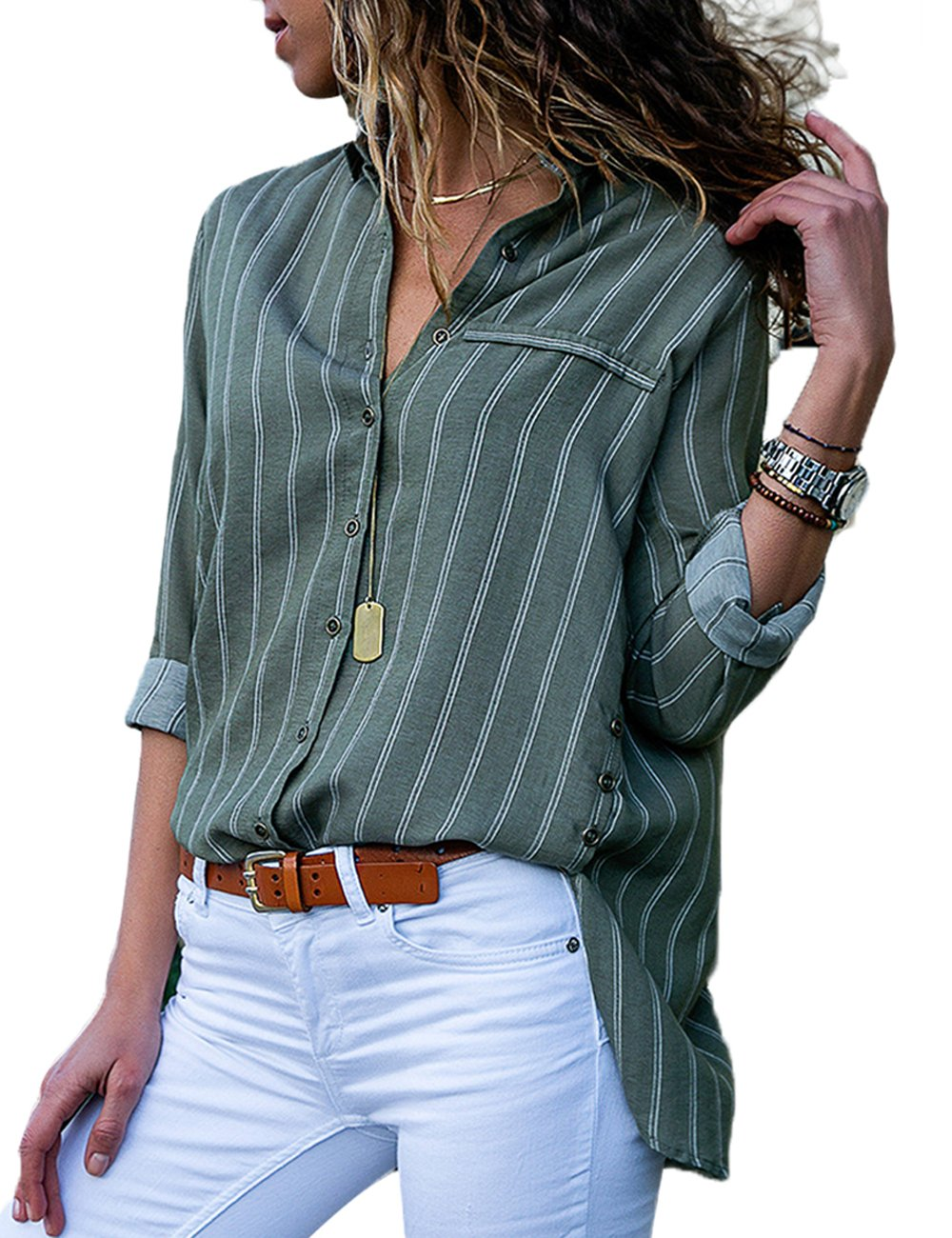 CILKOO Womens Blouses Plus Size Long Sleeve Summer V Neck Button Down Color Block Stripes Loose Blouse Casual Tops and T Shirts Green US18-20 XX-Large