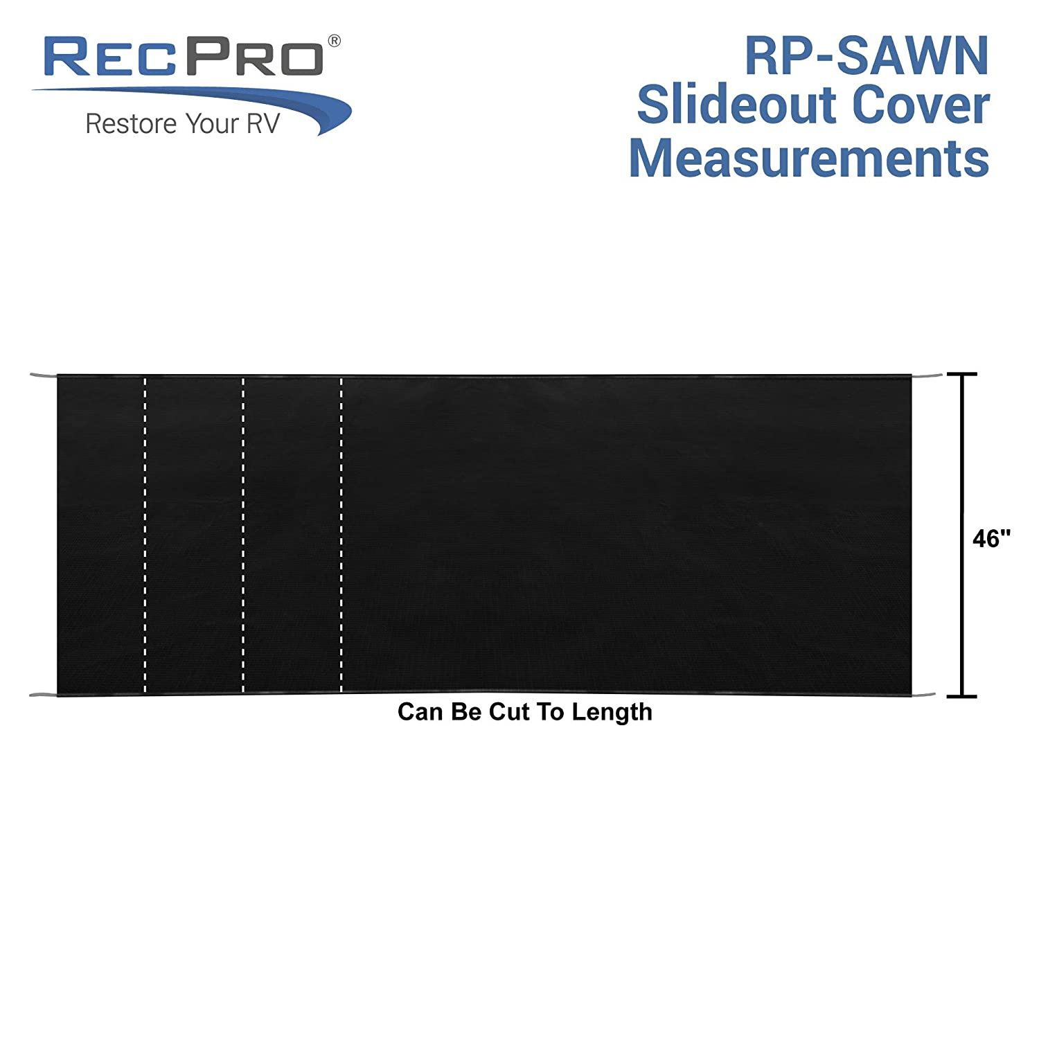 Slideout Awning RecPro RV Slide Out Awning RV Slide Topper Black 46 x 200 Fabric Only