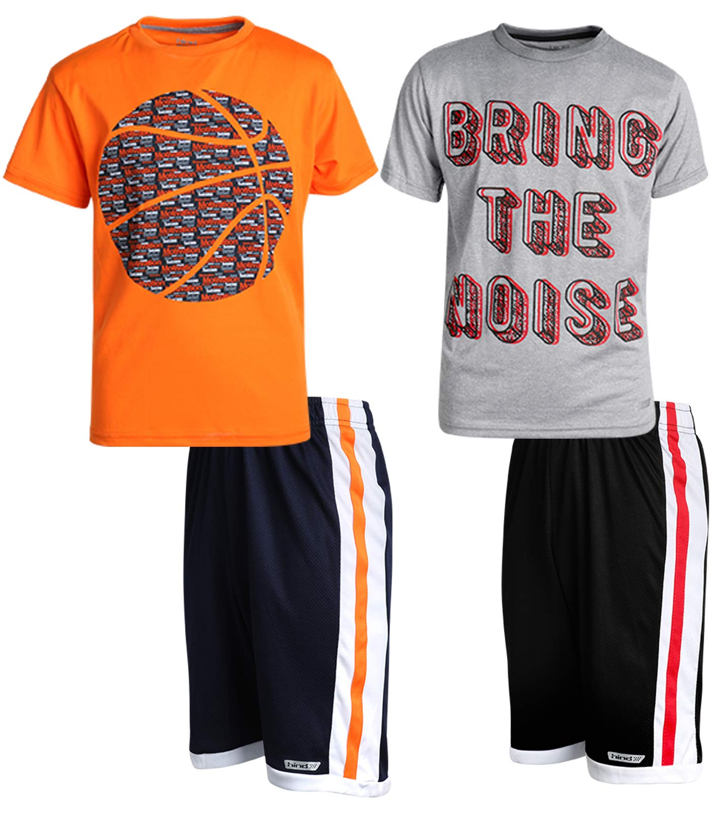 Hind Boys 4-Piece Shirt and Shorts Athletic Outfit Set, Heather Grey/Orange, Size 8'
