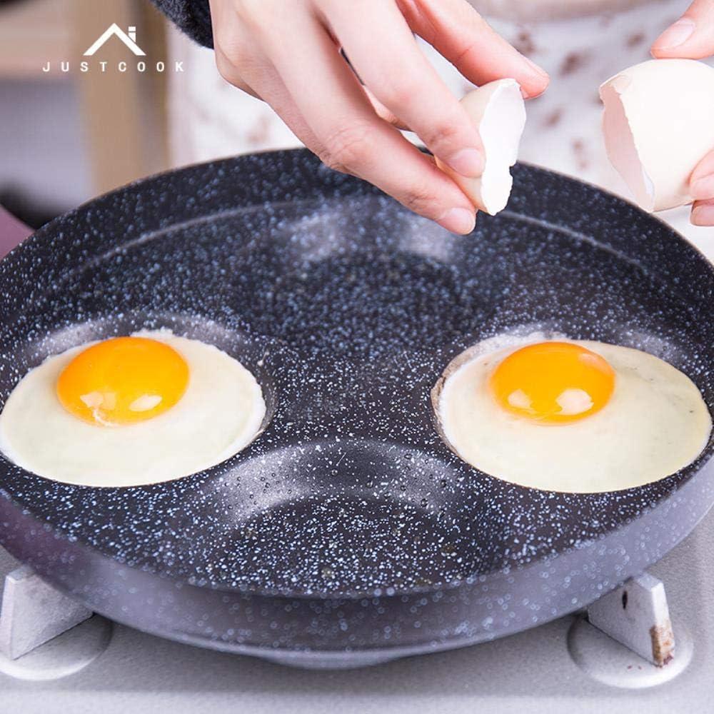 AOOA 24 CM poêle à œufs poêle barbecue anti-adhésif pancake pan 4-en-1 barbecue poêle à gaz Noir
