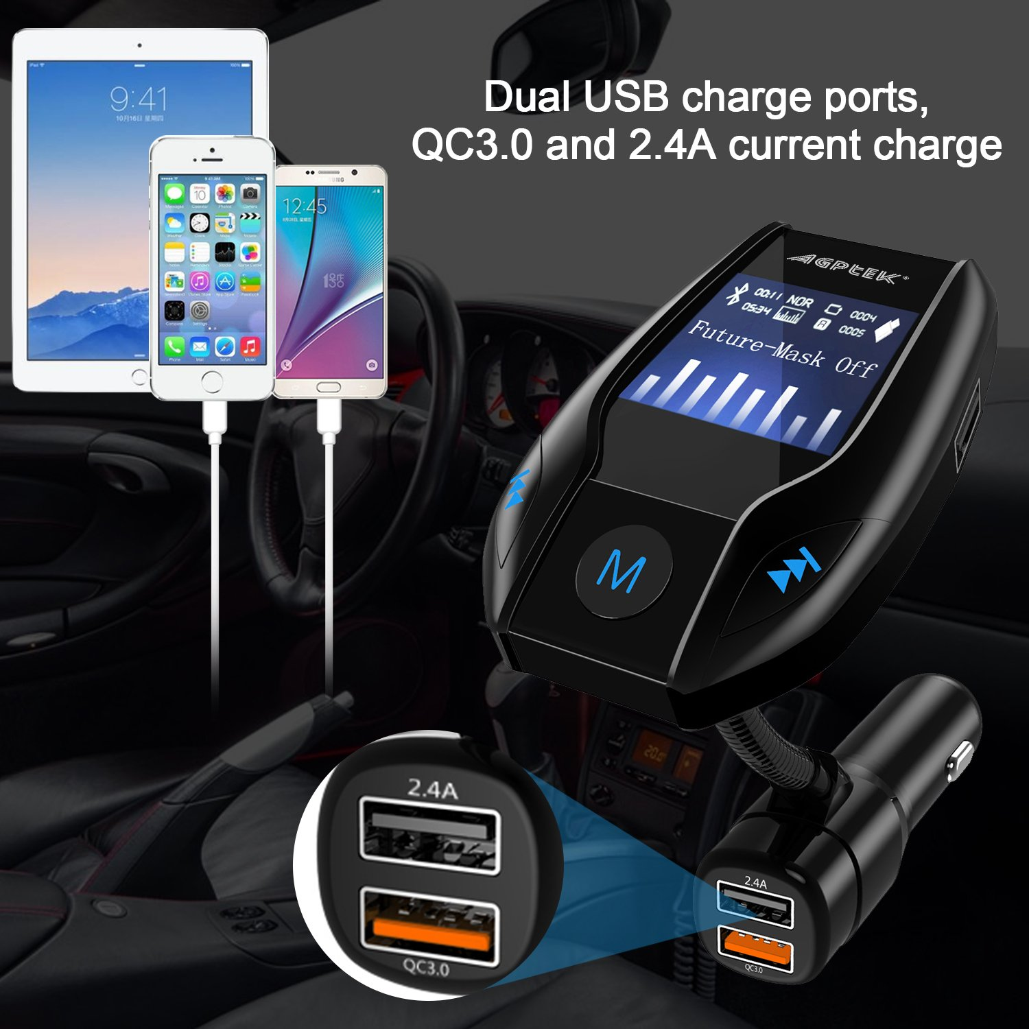 Bluetooth FM Transmitter for Car with Quick Charge 3.0 Wireless In-Car Radio Transmitter Adapter Support AUX Input/TF Card/USB Flash Drive/Hands-Free Calling by MYPIN (Image #7)
