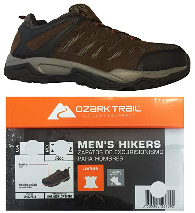 Amazon.com | Ozark Trail Outdoor Equipment Mens Mesh Low Leather Hiking Sneakers with Flexible Midsoles (Brown, 7.5, 8, 10, 13) | Hiking Shoes