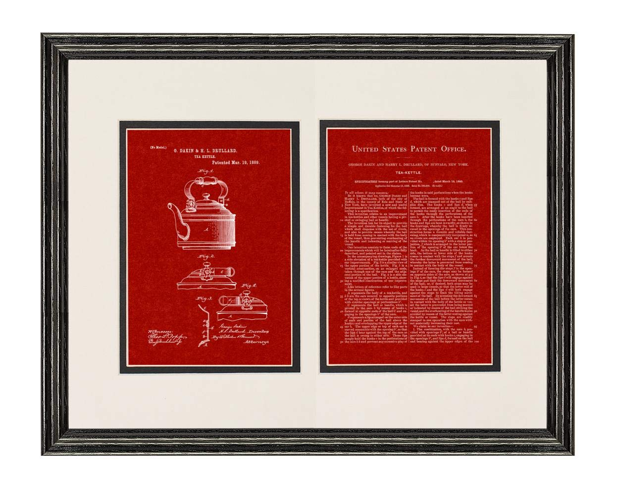 """Tea Kettle Patent Art Burgundy Red Print in a Black Wood Frame with a Double Mat (20"""" x 24"""") M12009"""