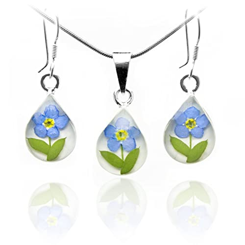 Sterling Silver (925) Teardrop Forget-me-Not Necklace hand made with Real Flowers 8lMcku