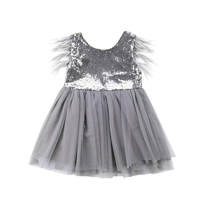 Amazon.com: Vestido de dama de honor para niñas con ...