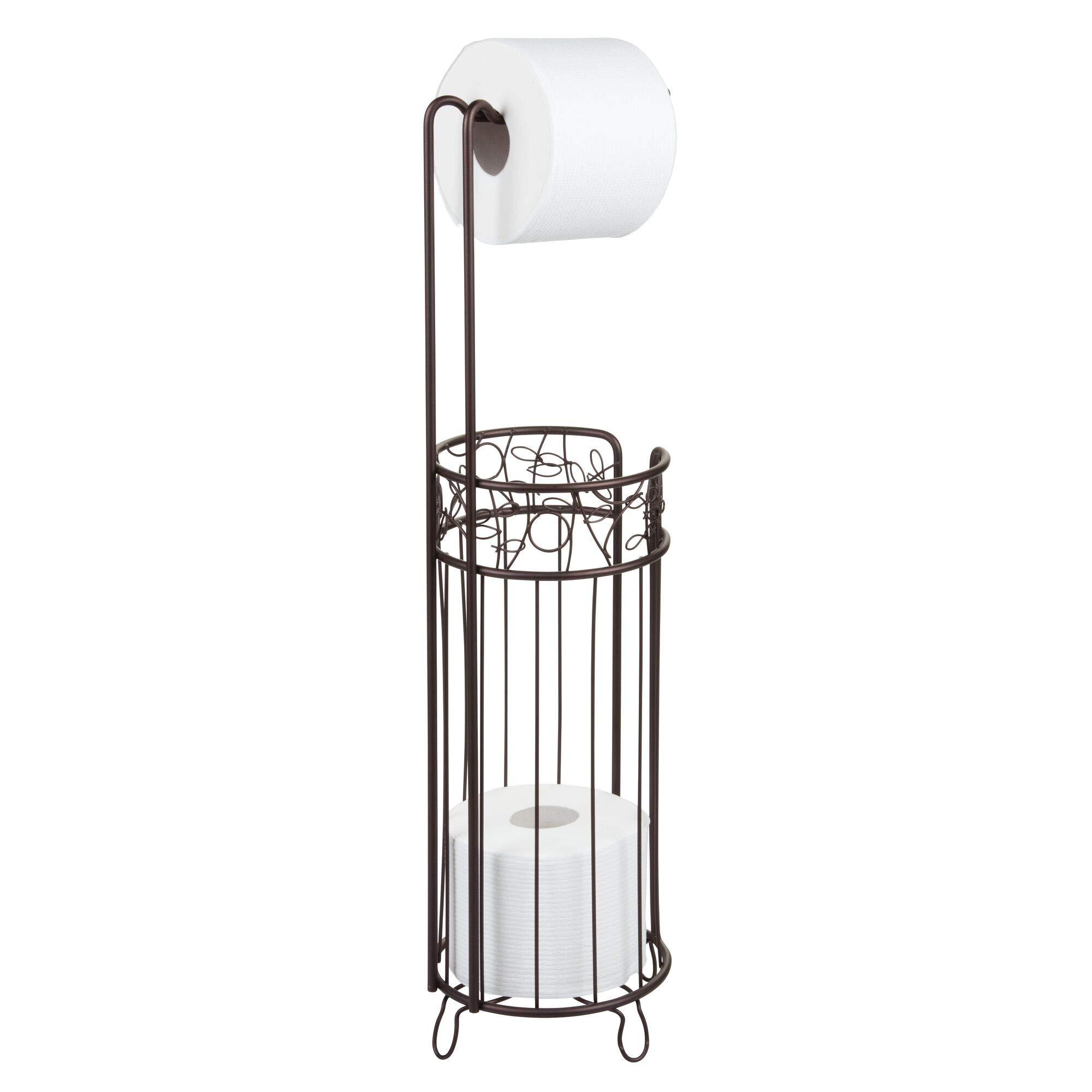 iDesign Twigz Steel Free-Standing Toilet Paper Storage Dispenser – 7″ x 7″ x 25″, Bronze