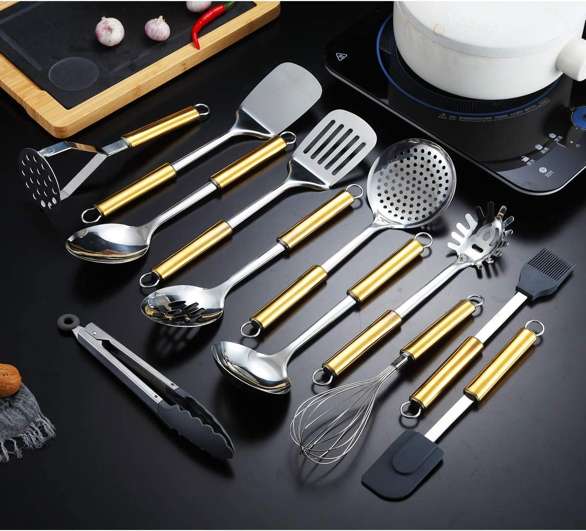 Potato Masher 12pcs Kyraton Stainless Steel Cooking Utensil Sets 12 Pieces Spatulas ect. Skimmer Gold Handle Kitchen Utensil Set Kitchen Tool Set Include Cooking Spoon Ladle