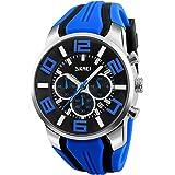 Relojes Deportivo Multifuncional Relojes Hombre Cronógrafo Relojes Calendario Silicona