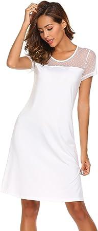 ADOME Mujer Camisón Tul Vestido de Dormir Pijama Corto Elegante Ropa de Casa