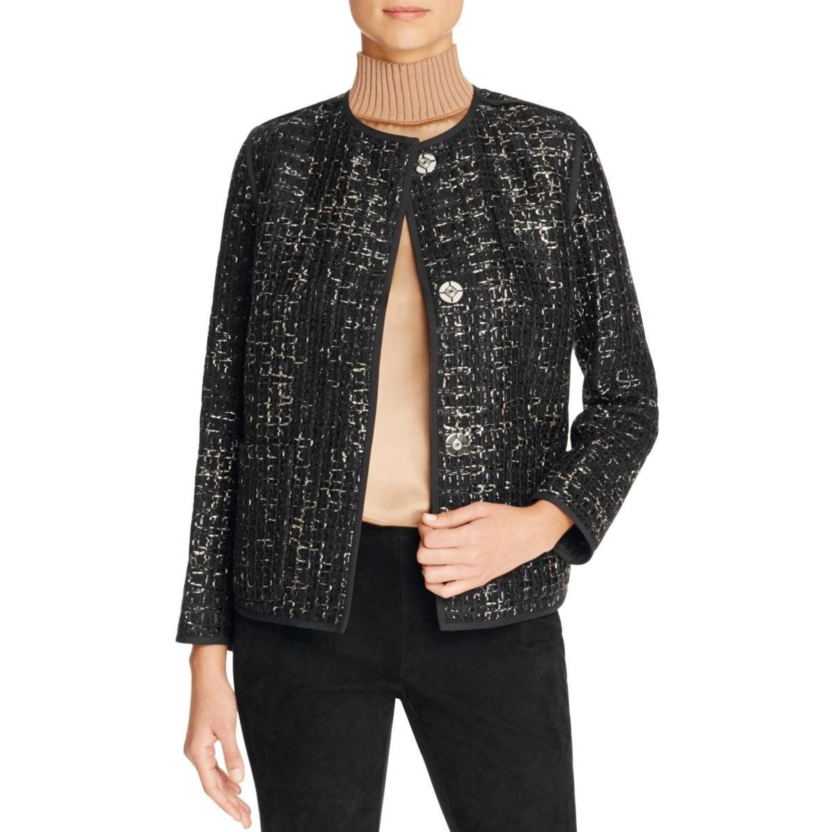 Lafayette 148 Womens Holland Metallic Tweed Blazer Black S