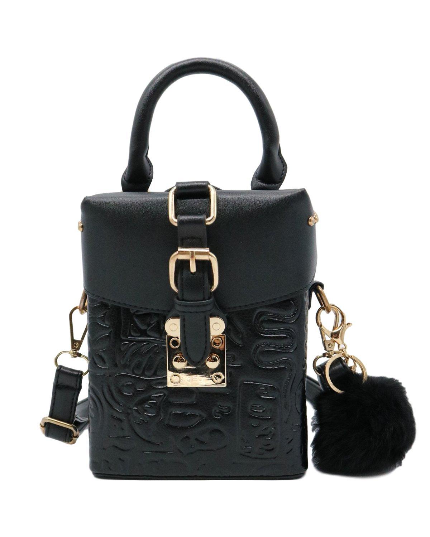 ZEN - Women Retro Crossbody Bag Mini Shoulder Handbag Cellphone Pouch With Fur (Black)