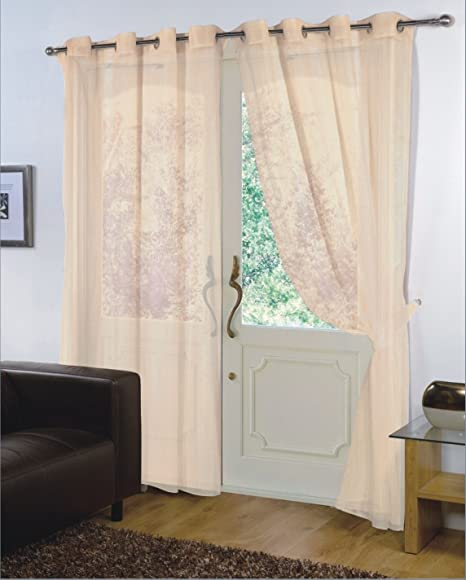 PAIR RING TOP 59/'/' X 48/'/' CURTAINS CREAM VOILE NET PANELS EYELET