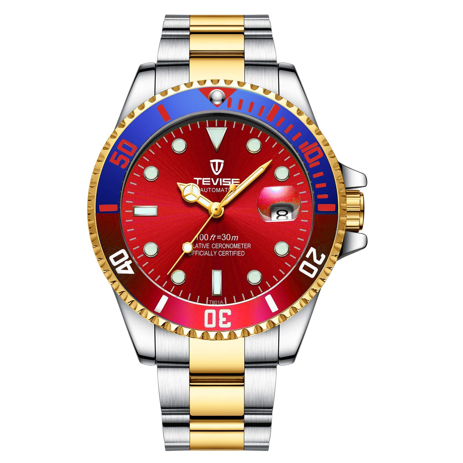 Men's Swiss Automatic Mechanical Stainless Steel Watches with Calendar Luminous Waterproof Rainbow Tevise Submariner Watc (Red Blue) by clearLove7