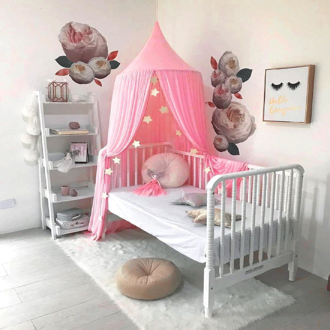 TOPAUP Bed Canopy Princess Baby Kid Cribs Mosquito Net Cotton Round Dome Castle Play Tent Reading Nook Decoration Indoor Game Room Pink