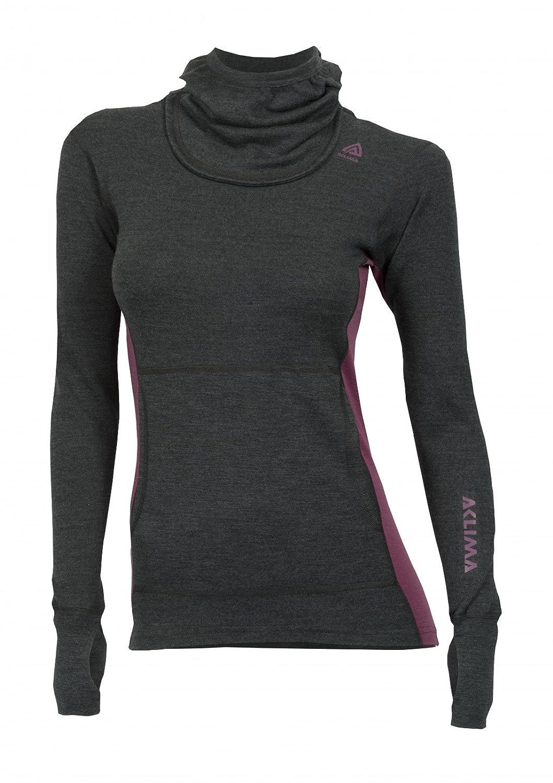 Aclima WarmWool Hood Sweater Damens Marengo Damson Größe XL 2018 Unterwäsche