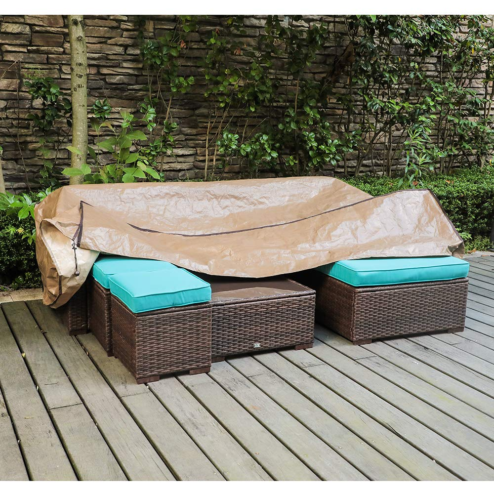 OC Orange-Casual Patio Furniture Set Cover Sofa Covers for Outdoor with Water Resistant Fabric- Fits up to 89x65x24 inches