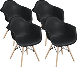 Yaheetech 4pcs Dining Chairs Kitchen/Lounge/Living Room/Waiting Room/Chair Mid Century Modern Arm Chair with Backrest and Wooden Legs, Black