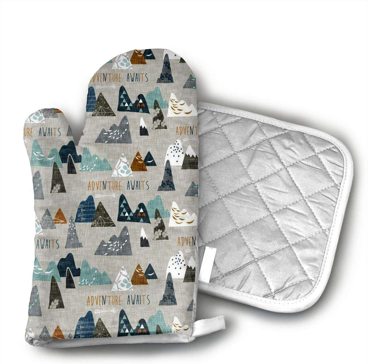 KEIOO Adventure Awaits (Earth) Nouveau Bohemian Oven Mitts and Potholders Heat Resistant Set of 2 Kitchen Set Non-Slip Grip Oven Gloves BBQ Cooking Baking Grilling