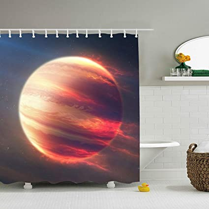 Lievon Space Fire Planet Shower Curtain Extra Long Bath Decorations Bathroom Decor Sets With Hooks