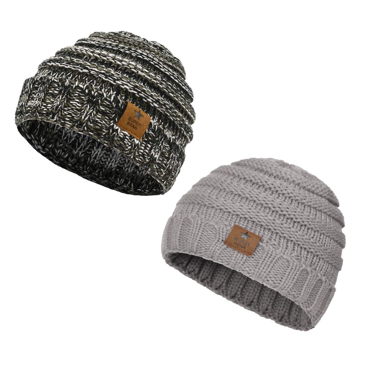 Amazon.com  Zando Baby Winter Hats Warm Knitted Cute Infant Toddler Beanies  Baby Beanies For Boys Girls 2 Pack Oreo 325fb473a36