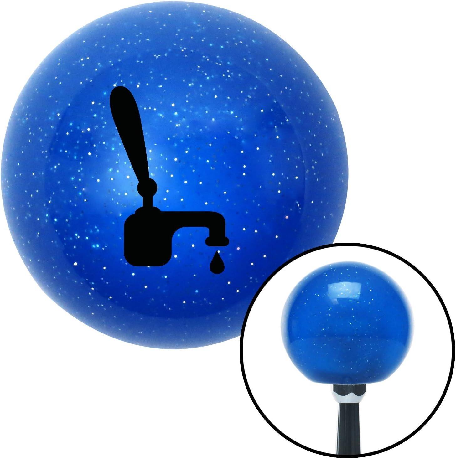 American Shifter 23494 Blue Metal Flake Shift Knob Black Tap w//a Drip