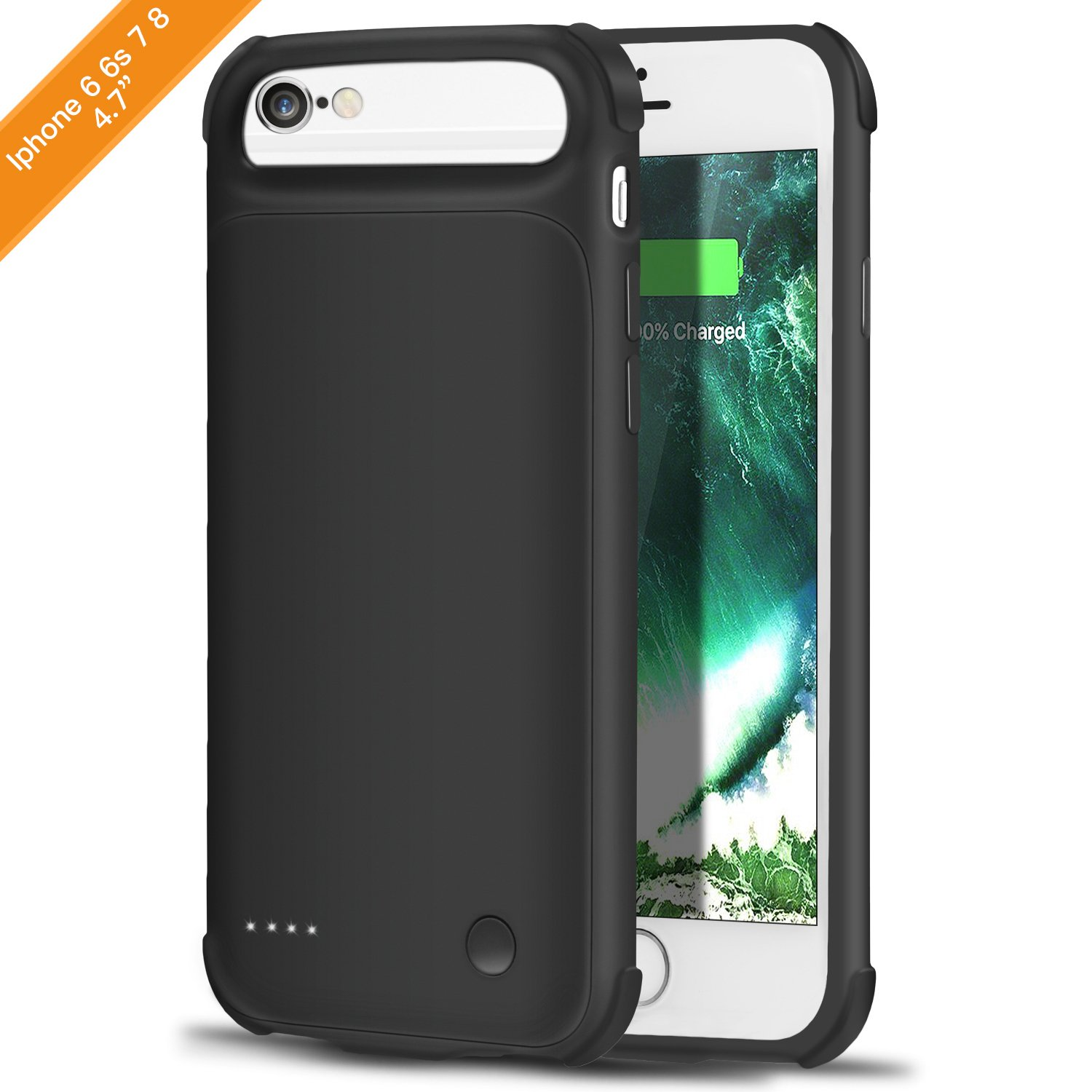 FHLP iPhone 6 6S 7 8 Charging Case Battery Case [2800mAh],Rechargeable External Battery Portable Extended Power Charger Protective for iPhone 6/6S/7/8 (4.7 Inch)-Black