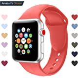 Youther For Apple Watch Bands, Soft Silicone Strap Replacement Wristbands for Apple Watch Sport Series 3 Series 2 Series 1 Black 42mm 38mm M/L S/M