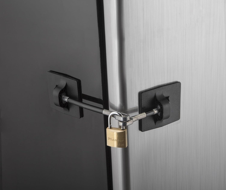 Computer Security Products Refrigerator Door Lock With Padlock, Black