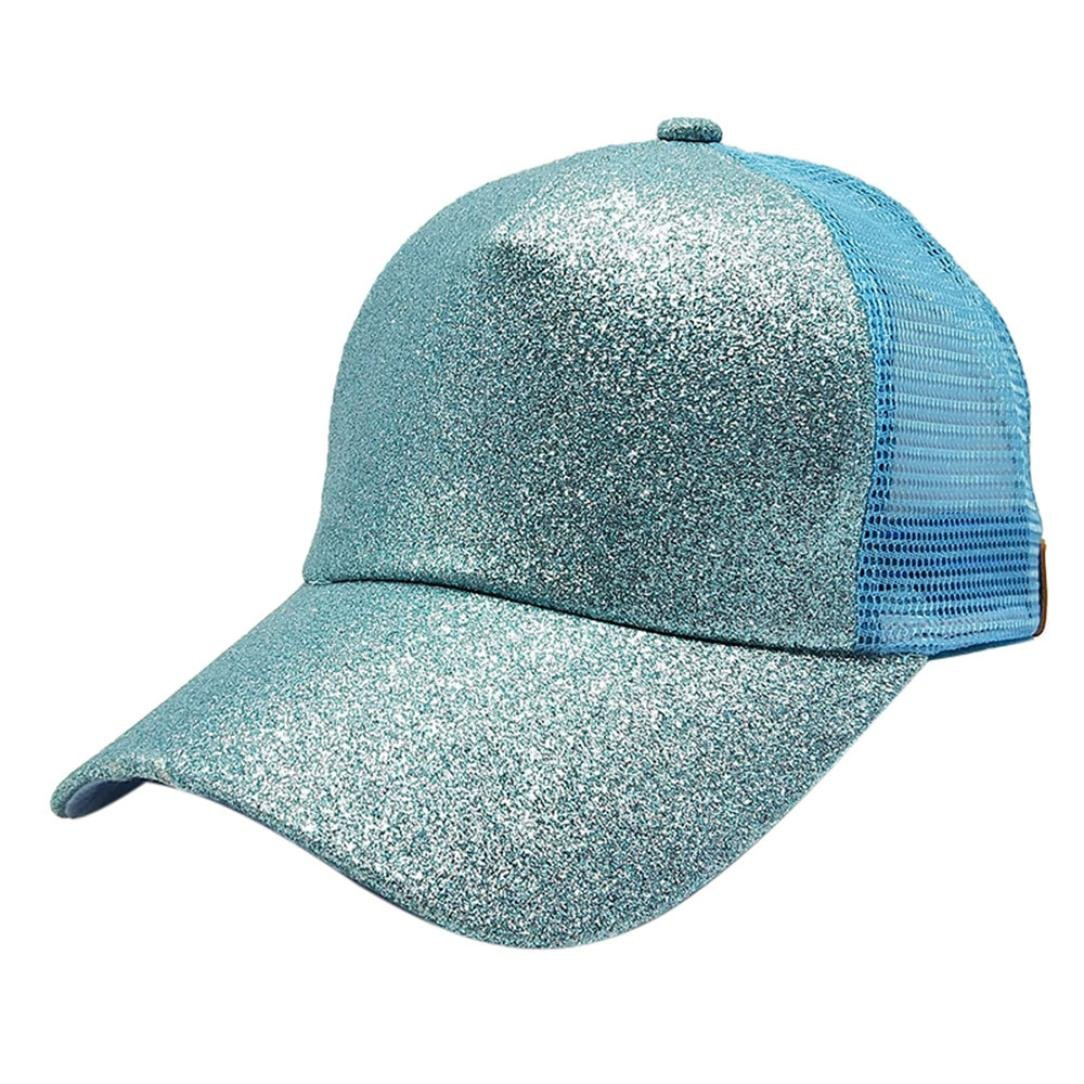ff79fe7983c Amazon.com   Creazy 2018 Women Ponytail Baseball Cap Sequins Shiny Messy Bun  Snapback Hat Sun Caps (G)   Beauty