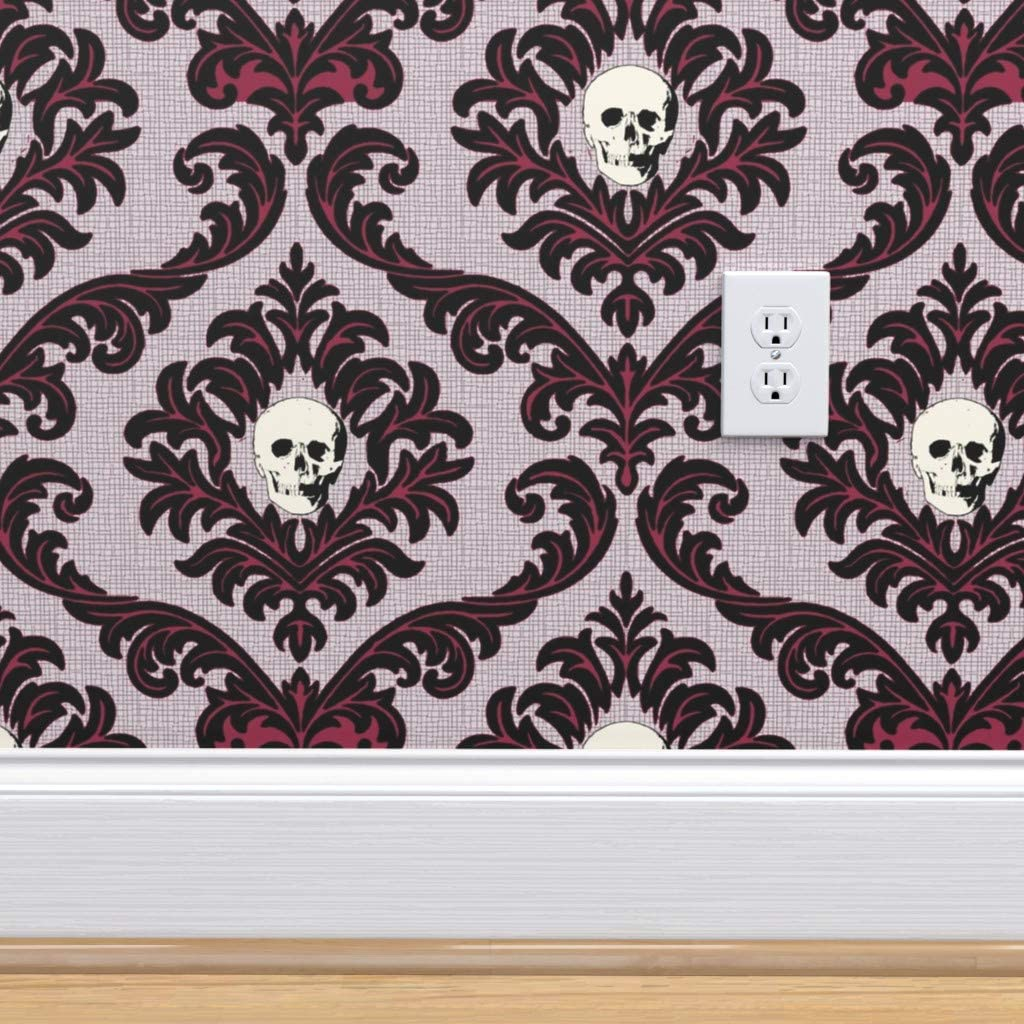 Removable Water-Activated Wallpaper Halloween Skull Skeleton Anatomy Floral