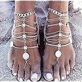 1 paire Boho Vintage Gold Silver Coin Bénédictions Symbole Tassel Anklet Barefoot Bijoux pour pied de plage pour femme