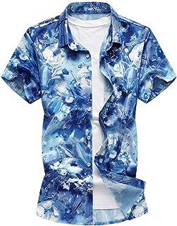 Camicie Camicia da Estiva Manica con Uomo Corta Stile Semplice Risvolto Stampa Moda Camicie da Polo Oversize Uomo Casual Top