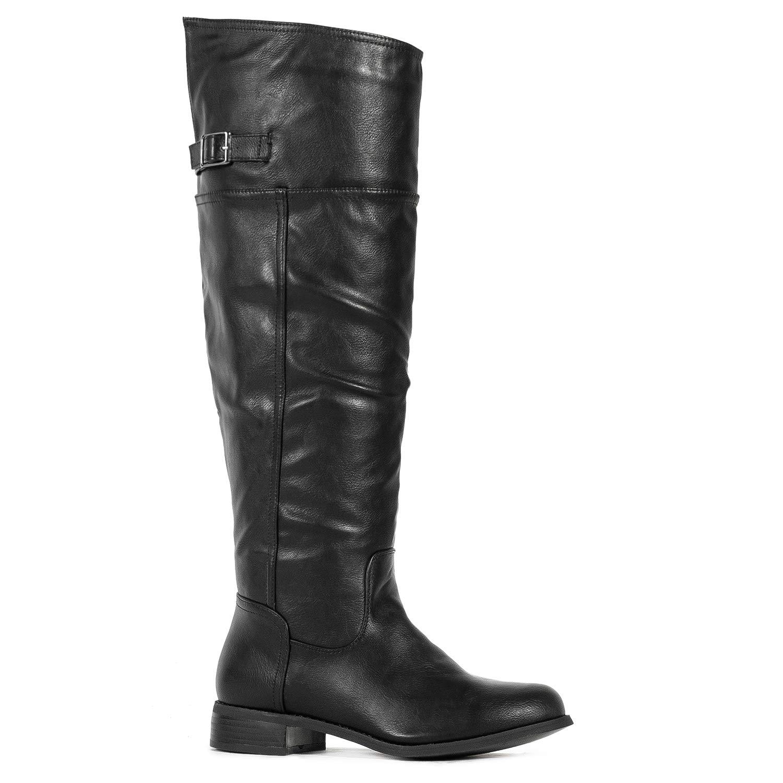 Medium Calf Black-12 ROF Women's Fashion Comfy Vegan Suede Block Heel Side Zipper Thigh High Over The Knee Boots