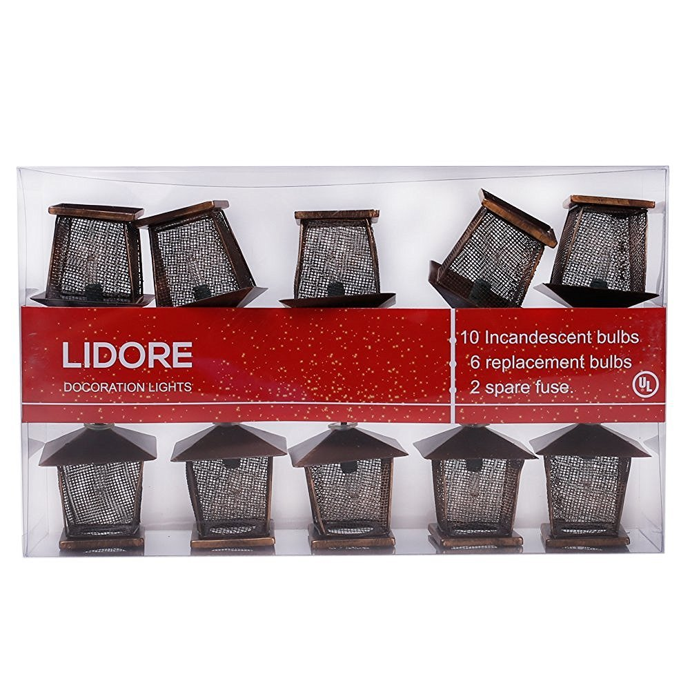 LIDORE 10 Counts Vintage Bronze Iron Nets Lanterns Plug-in String Lights. Great for Indoor/Outdoor Decoration. Best Ambience Decorative Lights. Warm White Glow.