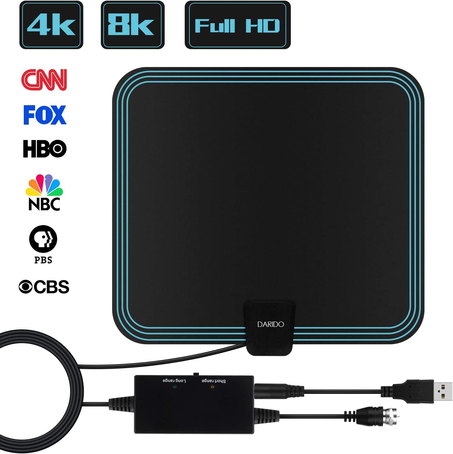 [2020 Latest] HDTV Antenna,DARIDO [4K/1080p ] Indoor Digital TV Antenna [100% Copper Coaxial Cable] 150 Miles Range with 5G Smart Chip Amplifier Signal Booster for All Televisions
