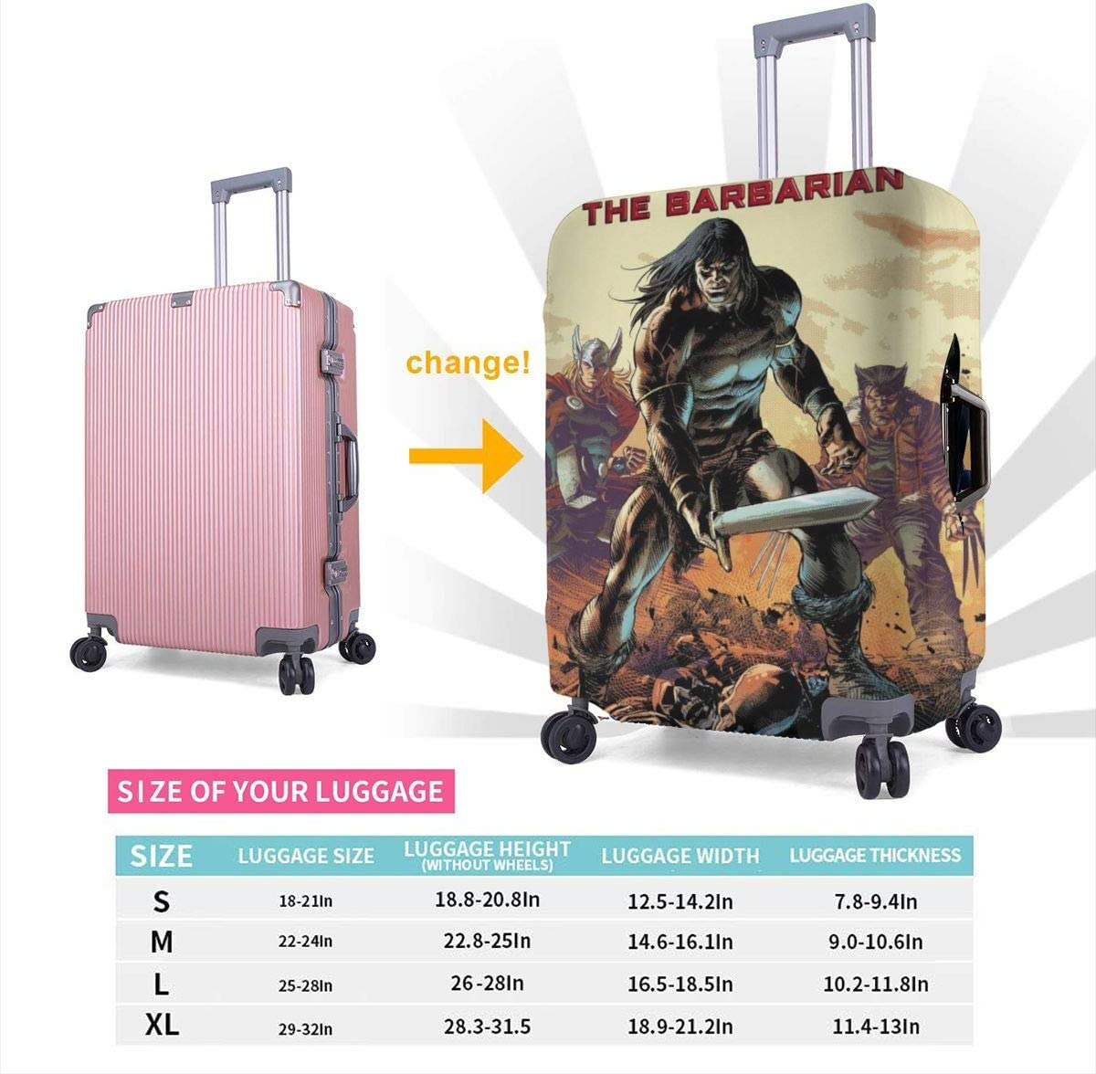 Deodato Conan Suitcase Protector Travel Luggage Cover Fit