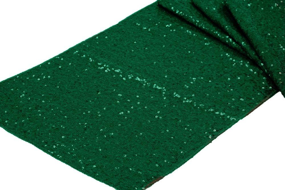 12 Pk, Glitz Sequin Table Runner Sequin all over on Taffeta base Approx. 12''x108'' - Emerald Green