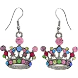 Multicolor Queen Princess Tiara Crown Dangle Earrings Fashion Jewelry