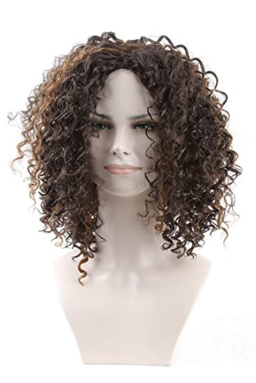Cool2day New Fashion Charming African American Hair Wigs Short Kinky Curly Capless Synthetic Hair Wig For