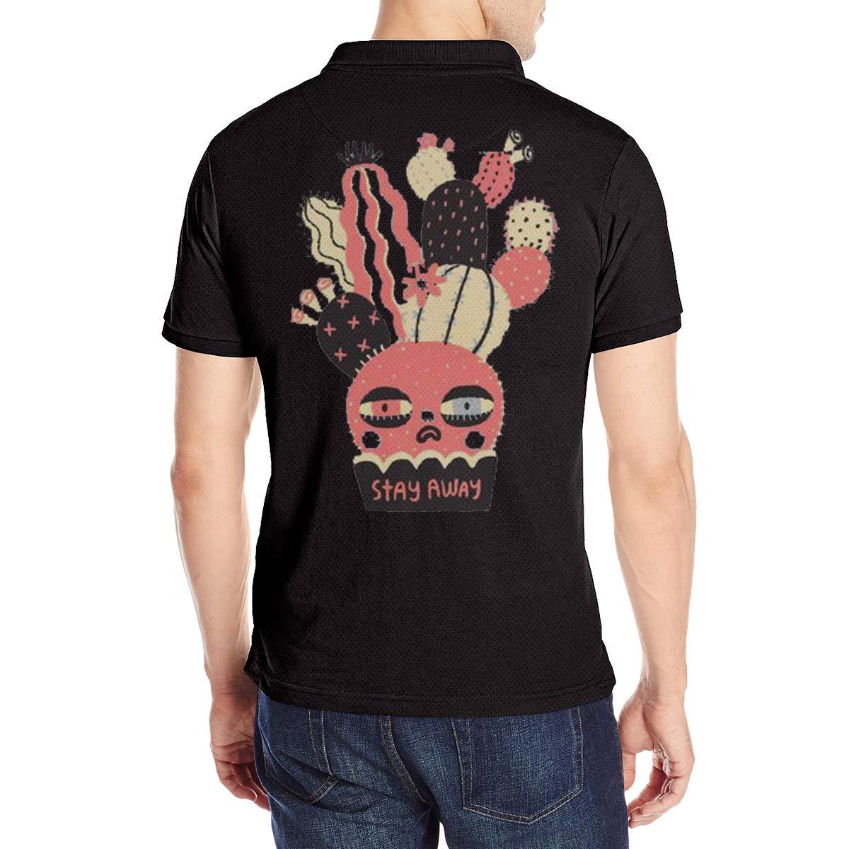 6cdd6c841 Amazon.com  JJHH Shop Angry Cactus Stay Away Men s Boy Office Golf Polo  Shirt  Clothing